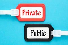 Privat gegen Öffentlichkeit Stockfotos