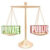 Privat gegen öffentliche Information führt vertrauliche Geheimhaltung einzeln auf Stockfoto