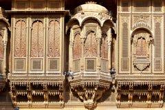 privat herrgård för stadshaveliindia jaisalmer Arkivbild