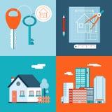 Privat hus för Retro Real Estate symboler Royaltyfri Bild