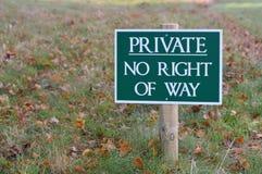 Privat ingen rätt av vägtecknet Royaltyfria Bilder