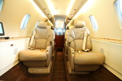 Privat jet cabin rear Stock Images