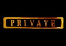 Privat kennzeichnen Sie innen Gold Lizenzfreies Stockfoto