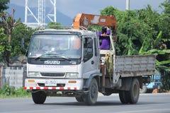 Privat lastbil med kranen Arkivbild