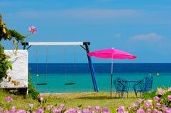 privat sjösidagård Royaltyfria Bilder