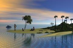 privat strand Arkivfoto