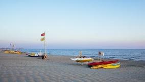 Privat strand, flyg- sikt, Tuscany Arkivfoto