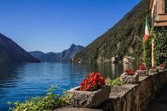 Privat trädgård och sjö med blommor Royaltyfri Fotografi