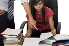 Privat tuition, private coach helps student Royalty Free Stock Photo