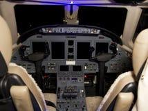 Privata Jet Aircraft Cockpit arkivbilder