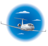Private air jet. Illustration of flying private air jet in the blue sky Stock Photo