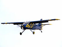 Private aircraft on final approach. Small private aircraft on final approach front sideview Royalty Free Stock Image
