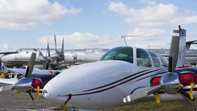 Private aircraft little airplane military airport Stock Images