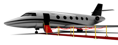 Private airplane boarding on red carpet. 3D render image representing a private airplane boarding on red carpet Royalty Free Stock Photos