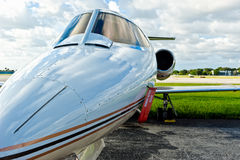 Private airplane jet in tamrac Stock Photos