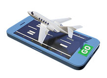 Private airplane takeoff smartphone. Isolated on white. 3d rendering Stock Photo