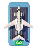 Private airplane takeoff smartphone. Top view. 3d rendering Royalty Free Stock Photos