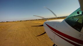 Private airplane takeoff. View from an aircraft wing. stock video footage