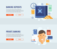 Private banking. Banking deposits. Bank deposited the money, finances, transfers, currency, deposits. Modern flat design concept for web banners, web sites Stock Images
