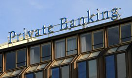 Private banking. On top of building, Geneva, Switzerland Stock Photography