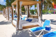 Free Private Beach Beds At The Perfect Day CocoCay Island Royalty Free Stock Photo - 155135865