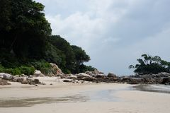 Private beach of ClubMed Bintan stock photography