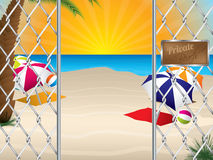 Private beach entrance with wired fence Royalty Free Stock Images