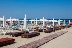 Private beach on Mamaia Stock Photos