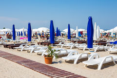 Private beach on Mamaia Stock Photo