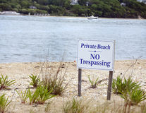 Private beach with no trespassing sign Stock Images