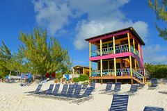 Half Moon Cay, Bahamas. Private Beach Villa at Half Moon Cay, Little San Salvador Island, the Bahamas. Half Moon Cay is a private island owned by Holland America stock photography