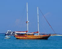 A private boat in maldives. A private boat seen from the ferry terminal at hulhulmale Stock Photo