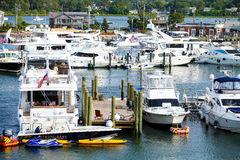 Private boats dock in Martha's Vineyard. Royalty Free Stock Image