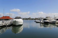 Private boats at Glorietta Bay Marina in San Diego Royalty Free Stock Photos