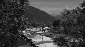 Private boats on Lake Langensee in Switzerland in the city of Ascona. Royalty Free Stock Photos