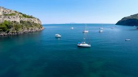 Private boats sailing on turquois surface of calm sea recreation activity, hobby. Stock photo royalty free stock image