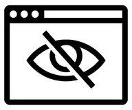 Private browsing on icon. Vector icon of web browser with crossed out eye inside Stock Photo