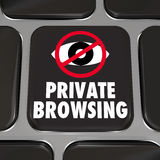 Private Browsing Internet Security Key Web Surfing Privacy. Private Browsing and an eye symbol on a computer laptop keyboard key to illustrate protecting your Stock Image