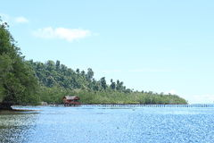 Private Bungalow on Tropical Sea Water. A private bungalow on sea water in style of traditional papuan house made of wood as the wall and palm leaves as the roof Stock Images