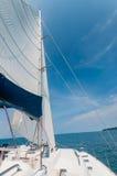 Private catamaran boat floating near  the island. Luxury Lifesty Stock Photography