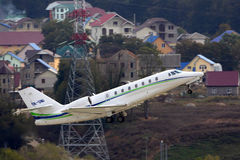 Private Cessna 680 Citation Sovereign taking off at Sochi-Adler international airport. SOCHI, RUSSIA - OCTOBER 31, 2012: Private Cessna 680 Citation Sovereign Royalty Free Stock Image