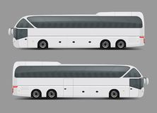 Private charter tour or coach bus realistic vector. Blank white private charter, tour or coach bus right and left side view realistic vector template. Modern royalty free illustration