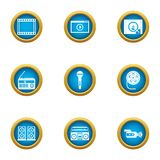 Private cinema icons set, flat style. Private cinema icons set. Flat set of 9 private cinema vector icons for web isolated on white background Royalty Free Stock Images