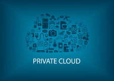 Private cloud computing for home automation. Connectivity of different devices such as refrigerator, mixer, air condition, garage, cars, smart phone, smart Royalty Free Stock Photos