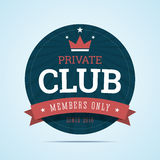 Private club badge. Stock Photos
