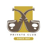 Private Club Logo With Two Crossed Smoking Pipes