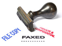 Private and confidential, faxed, file copy stamp Royalty Free Stock Photos