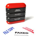 Private and confidential, faxed, file copy stamp. A rubber stamp with prints private and confidential, faxed isolated on a white paper Stock Photos