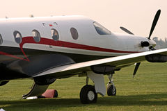 Private corporate jet. Grounded at airfield Royalty Free Stock Photo