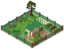 Private country house cottage and garden. American suburbia home isometric illustration